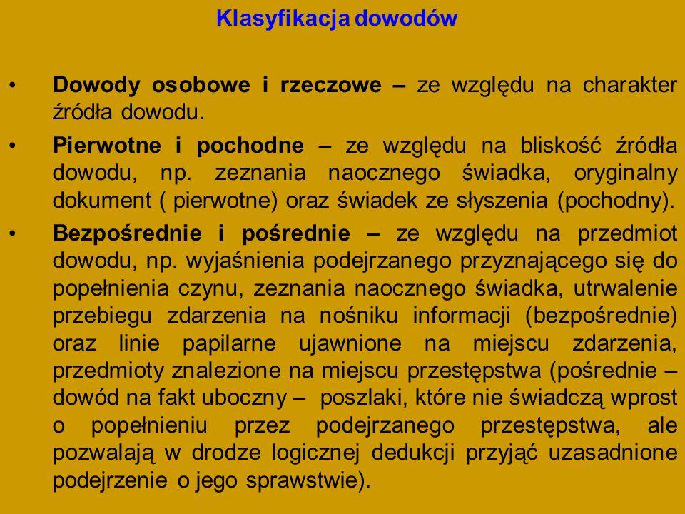 Klasyfikacja dowodów Dowody osobowe i rzeczowe – ze względu na charakter źródła dowodu.