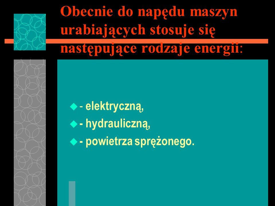 Obecnie do napędu maszyn urabiających stosuje się następujące rodzaje energii: u - elektryczną, u - hydrauliczną, u - powietrza sprężonego.