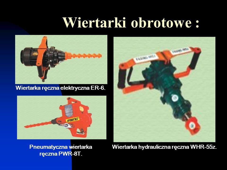 Wiertarki obrotowe : Wiertarka ręczna elektryczna ER-6. Pneumatyczna wiertarka ręczna PWR-8T. Wiertarka hydrauliczna ręczna WHR-55z.