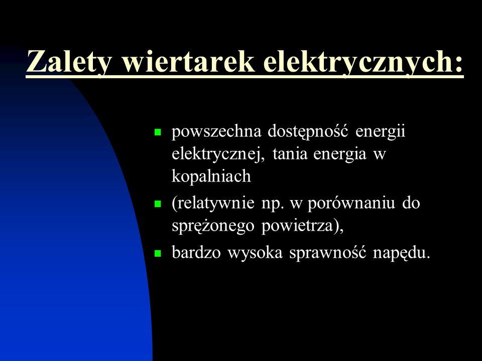 Zalety wiertarek elektrycznych: powszechna dostępność energii elektrycznej, tania energia w kopalniach (relatywnie np. w porównaniu do sprężonego powi