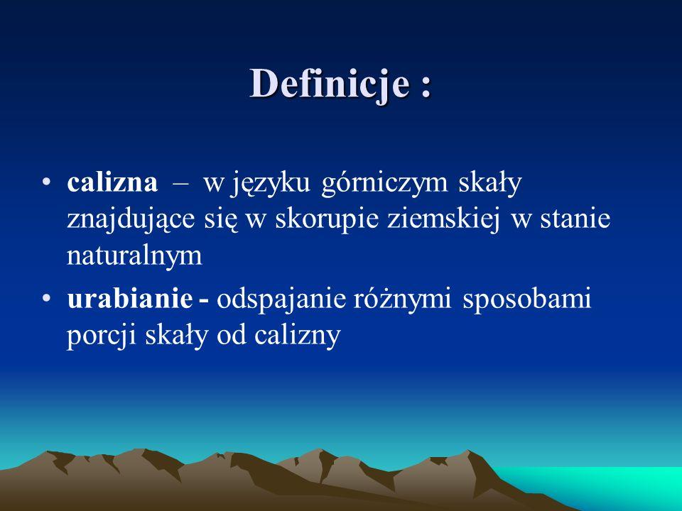 Definicje : calizna – w języku górniczym skały znajdujące się w skorupie ziemskiej w stanie naturalnym urabianie - odspajanie różnymi sposobami porcji