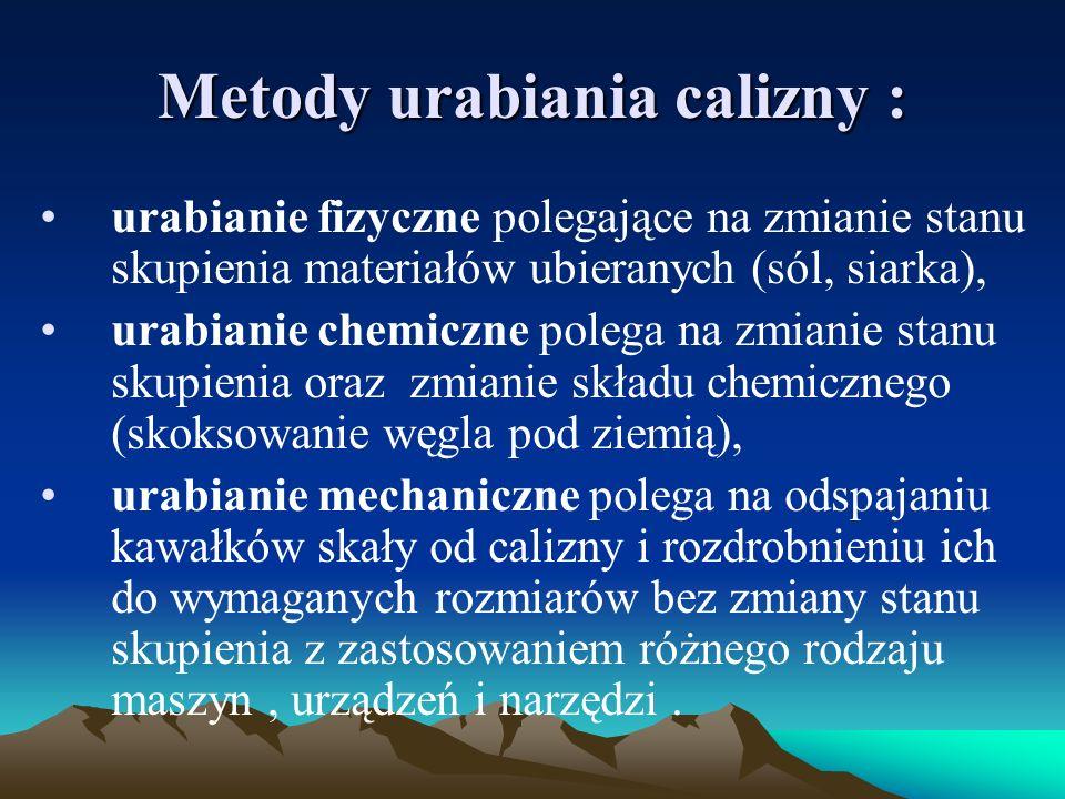 Metody urabiania calizny : urabianie fizyczne polegające na zmianie stanu skupienia materiałów ubieranych (sól, siarka), urabianie chemiczne polega na
