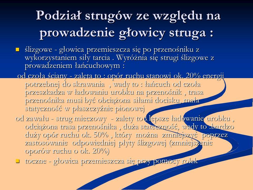 Podział strugów ze względu na prowadzenie głowicy struga : Podział strugów ze względu na prowadzenie głowicy struga : ślizgowe - głowica przemieszcza
