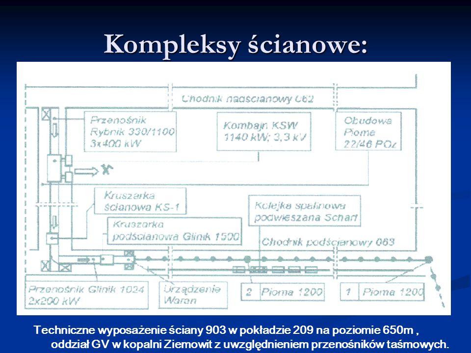 Kompleksy ścianowe: Techniczne wyposażenie ściany 903 w pokładzie 209 na poziomie 650m, oddział GV w kopalni Ziemowit z uwzględnieniem przenośników ta