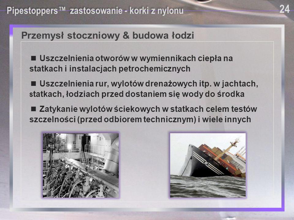 Przemysł stoczniowy & budowa łodzi Pipestoppers™ zastosowanie - korki z nylonu ■ Uszczelnienia otworów w wymiennikach ciepła na statkach i instalacjac