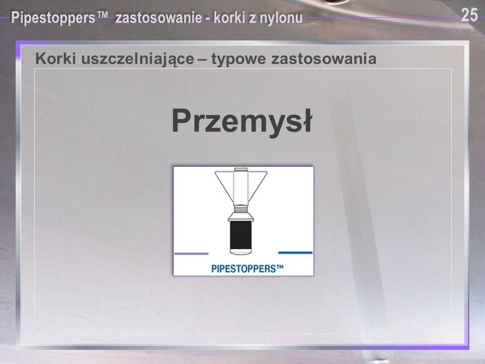 Pipestoppers™ zastosowanie - korki z nylonu Korki uszczelniające – typowe zastosowania Przemysł 25