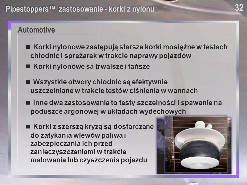 Automotive Pipestoppers™ zastosowanie - korki z nylonu ■ Korki nylonowe zastępują starsze korki mosiężne w testach chłodnic i sprężarek w trakcie napr