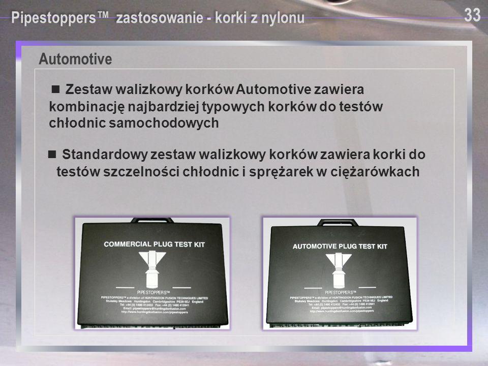 Pipestoppers™ zastosowanie - korki z nylonu ■ Standardowy zestaw walizkowy korków zawiera korki do testów szczelności chłodnic i sprężarek w ciężarówk