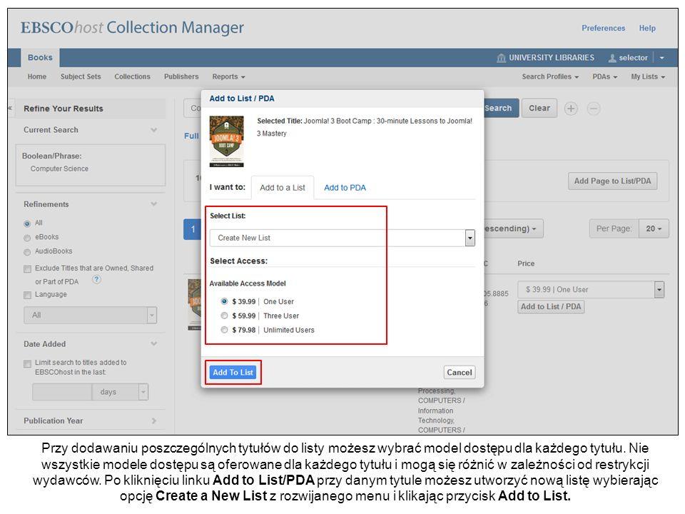 Nadaj nazwę nowej liście tytułów i wybierz ewentualnie kod finansowania, o ile jest dostępny w rozwijanym menu, a następnie kliknij przycisk Create List.