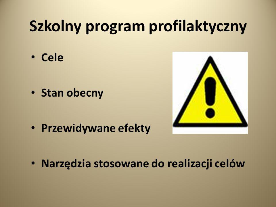 Szkolny program profilaktyczny Cele Stan obecny Przewidywane efekty Narzędzia stosowane do realizacji celów