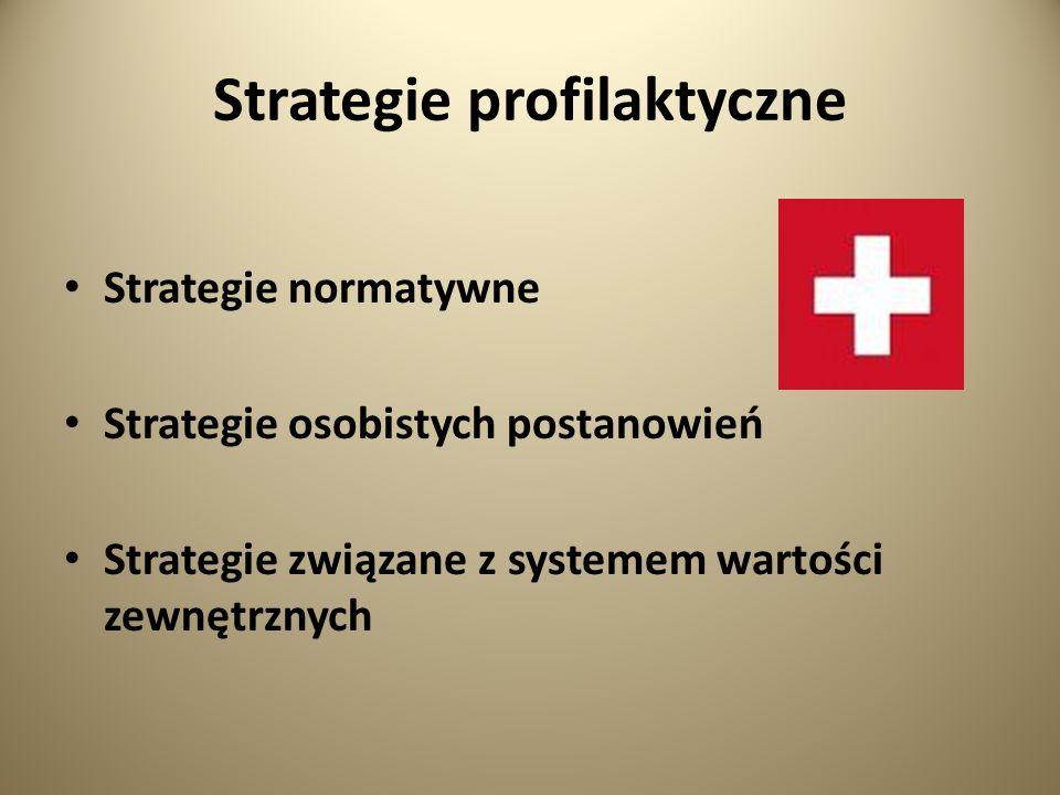 Strategie profilaktyczne Strategie normatywne Strategie osobistych postanowień Strategie związane z systemem wartości zewnętrznych