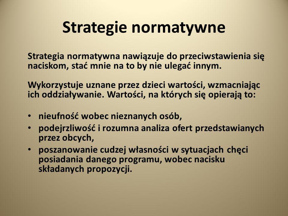Strategie normatywne Strategia normatywna nawiązuje do przeciwstawienia się naciskom, stać mnie na to by nie ulegać innym.