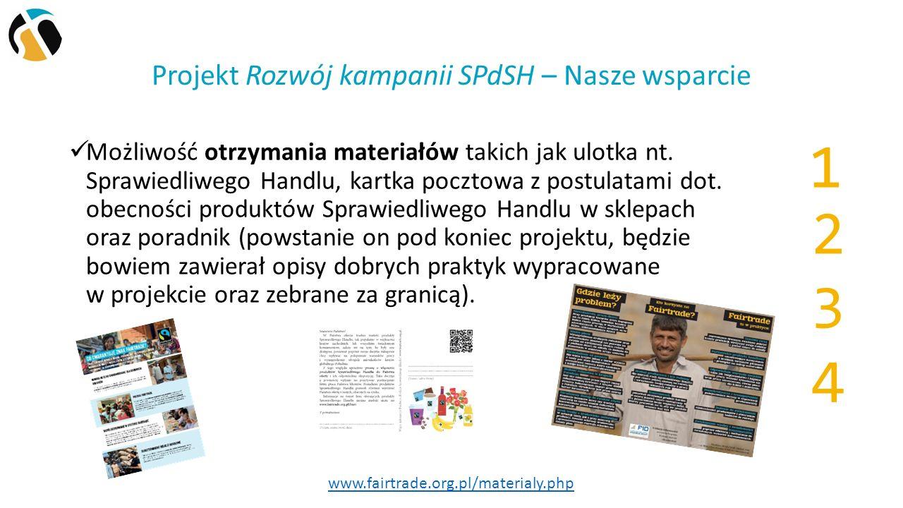 Projekt Rozwój kampanii SPdSH – Nasze wsparcie Możliwość otrzymania materiałów takich jak ulotka nt.