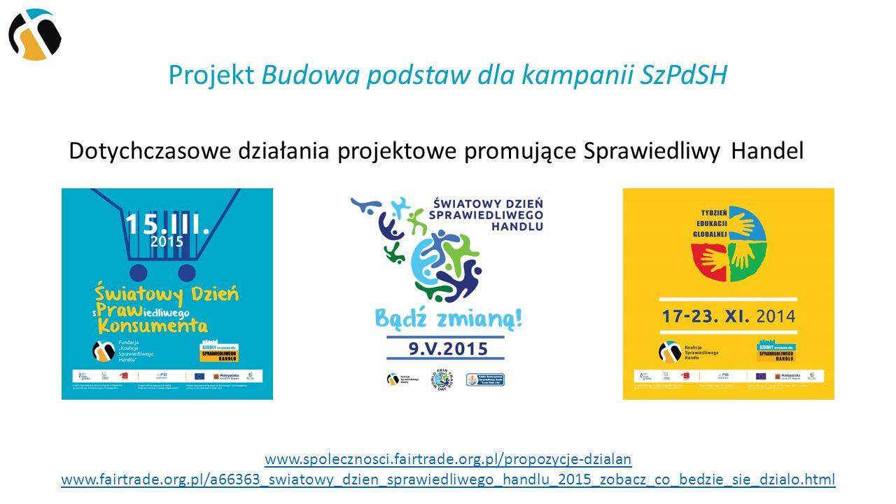 Projekt Budowa podstaw dla kampanii SzPdSH Dotychczasowe działania projektowe promujące Sprawiedliwy Handel www.spolecznosci.fairtrade.org.pl/propozycje-dzialan www.fairtrade.org.pl/a66363_swiatowy_dzien_sprawiedliwego_handlu_2015_zobacz_co_bedzie_sie_dzialo.html