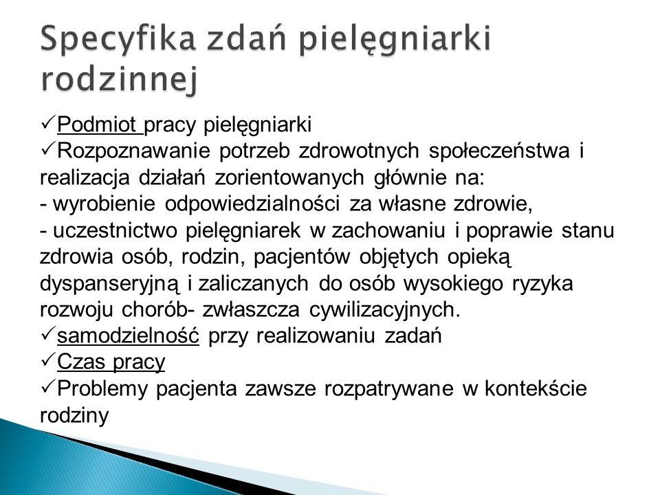  Podmiot pracy pielęgniarki  Rozpoznawanie potrzeb zdrowotnych społeczeństwa i realizacja działań zorientowanych głównie na: - wyrobienie odpowiedzi
