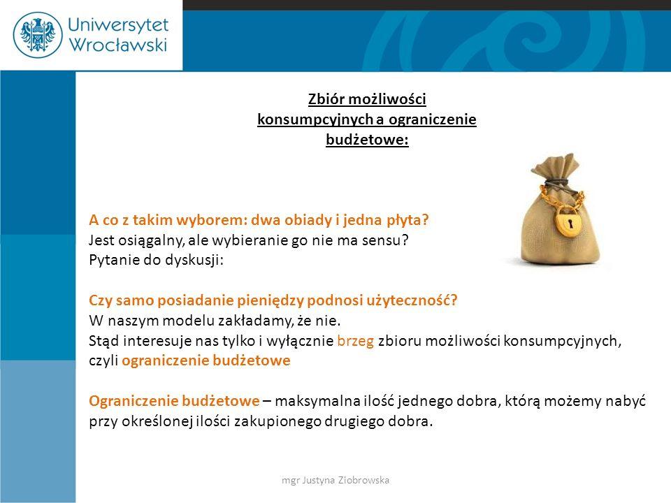 Graficzne przedstawienie ograniczenia budżetowego: płyty posiłki 4 6 A C B Pytania: Jakie sytuacje odpowiadają punktom A, B, C.