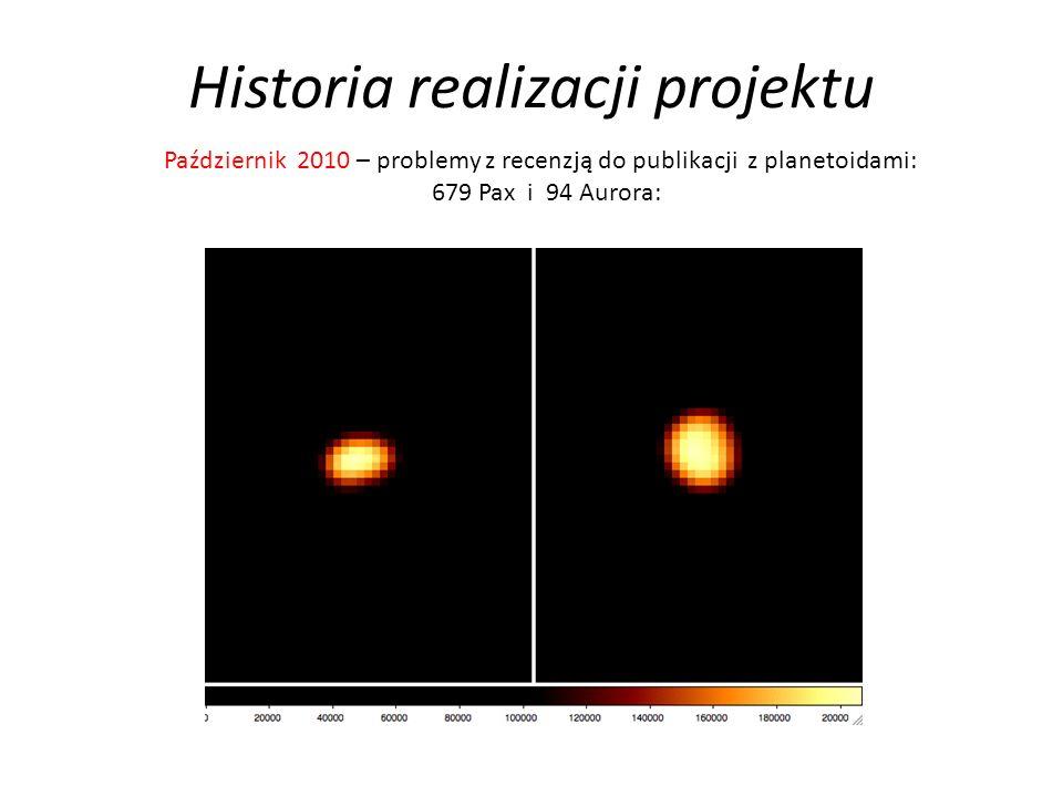Historia realizacji projektu Październik 2010 – problemy z recenzją do publikacji z planetoidami: 679 Pax i 94 Aurora: