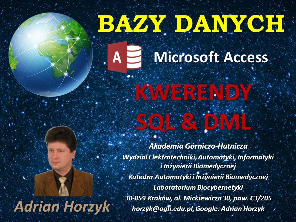 BAZY DANYCH SQL – Structured Query Language [S Q L] GB, [siquel] US STRUKTURALNY JĘZYK ZAPYTAŃ SQL: Nazywany jest językiem programowania baz danych Nazywany jest językiem programowania baz danych Nie jest pełnym językiem programowania Nie jest pełnym językiem programowania Służy do manipulacji danymi poprzez formułowanie zapytań.