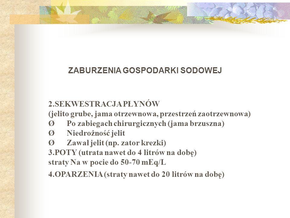 ZABURZENIA GOSPODARKI SODOWEJ 2.SEKWESTRACJA PŁYNÓW (jelito grube, jama otrzewnowa, przestrzeń zaotrzewnowa) Ø Po zabiegach chirurgicznych (jama brzus