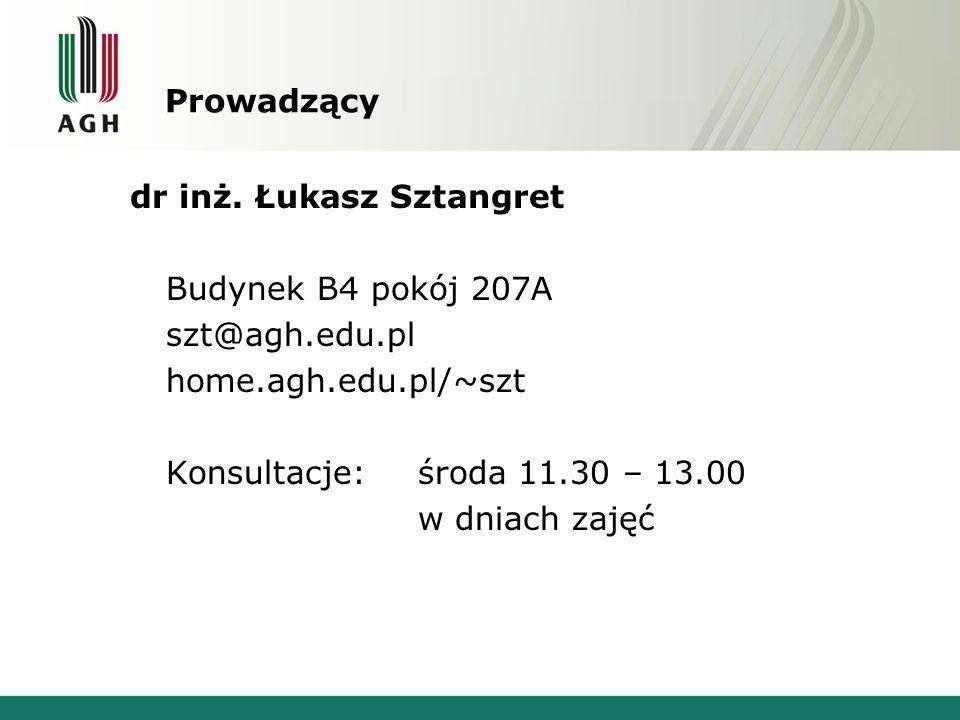 Prowadzący dr inż. Łukasz Sztangret Budynek B4 pokój 207A szt@agh.edu.pl home.agh.edu.pl/~szt Konsultacje:środa 11.30 – 13.00 w dniach zajęć