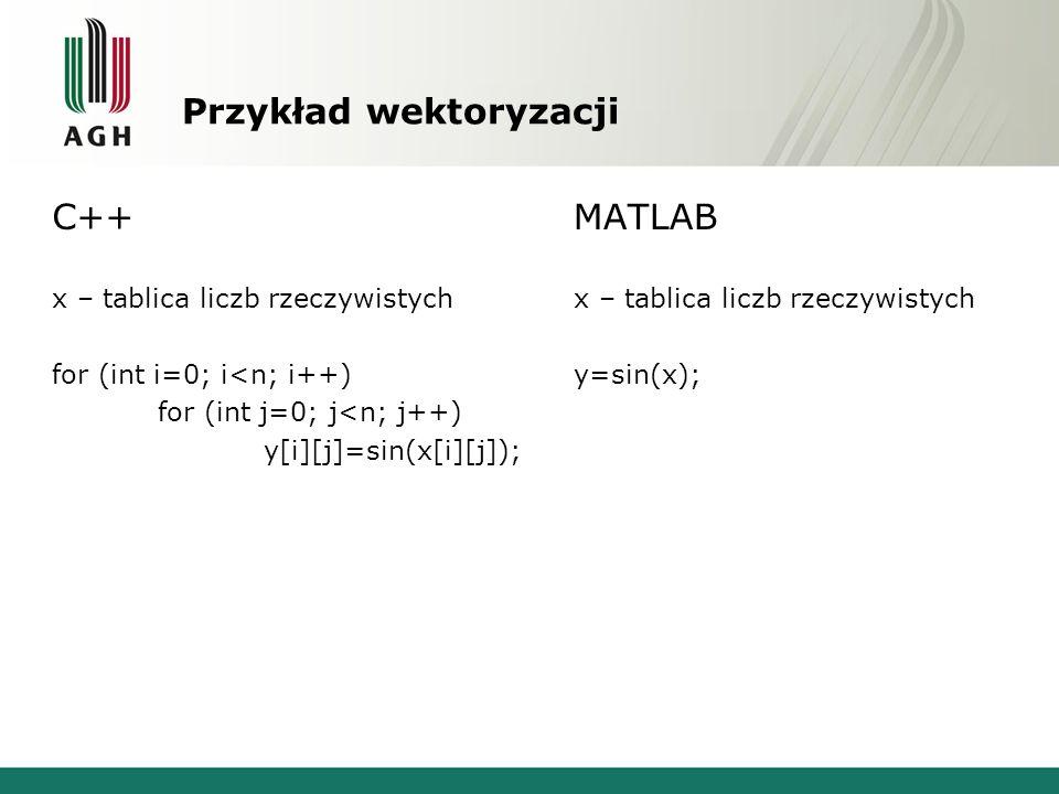 Przykład wektoryzacji C++ x – tablica liczb rzeczywistych for (int i=0; i<n; i++) for (int j=0; j<n; j++) y[i][j]=sin(x[i][j]); MATLAB x – tablica liczb rzeczywistych y=sin(x);