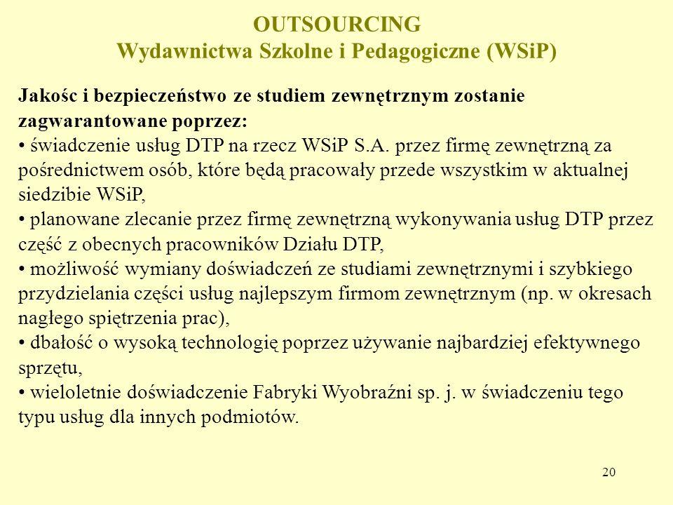 20 OUTSOURCING Wydawnictwa Szkolne i Pedagogiczne (WSiP) Jakośc i bezpieczeństwo ze studiem zewnętrznym zostanie zagwarantowane poprzez: świadczenie usług DTP na rzecz WSiP S.A.