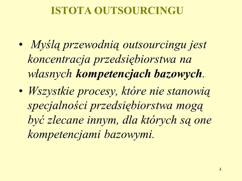 4 ISTOTA OUTSOURCINGU Myślą przewodnią outsourcingu jest koncentracja przedsiębiorstwa na własnych kompetencjach bazowych. Wszystkie procesy, które ni