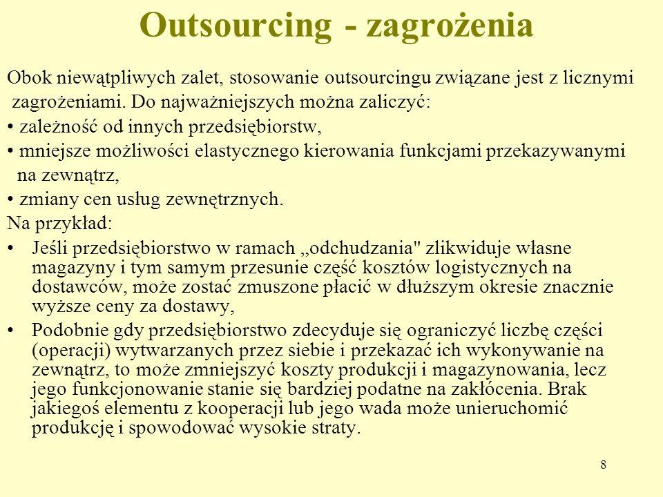 8 Outsourcing - zagrożenia Obok niewątpliwych zalet, stosowanie outsourcingu związane jest z licznymi zagrożeniami.