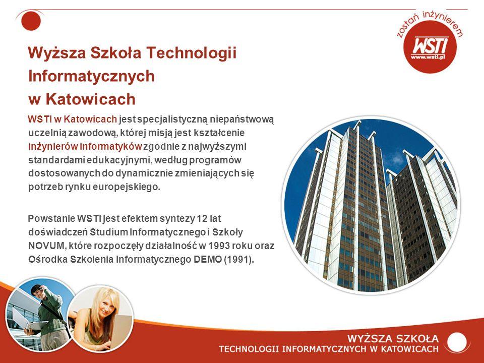 Wyższa Szkoła Technologii Informatycznych w Katowicach WSTI w Katowicach jest specjalistyczną niepaństwową uczelnią zawodową, której misją jest kształcenie inżynierów informatyków zgodnie z najwyższymi standardami edukacyjnymi, według programów dostosowanych do dynamicznie zmieniających się potrzeb rynku europejskiego.