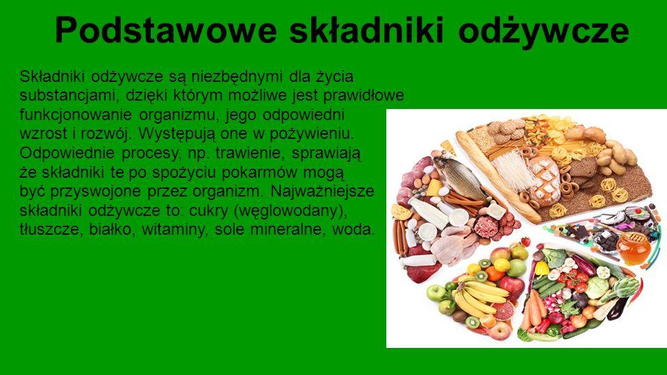 Podstawowe składniki odżywcze Składniki odżywcze są niezbędnymi dla życia substancjami, dzięki którym możliwe jest prawidłowe funkcjonowanie organizmu