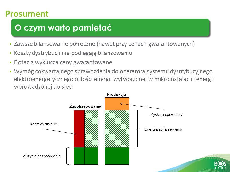 Slajd 13 z 14 Prosument O czym warto pamiętać Zużycie bezpośrednie Energia zbilansowana Produkcja Zapotrzebowanie Koszt dystrybucji Zysk ze sprzedaży  Zawsze bilansowanie półroczne (nawet przy cenach gwarantowanych)  Koszty dystrybucji nie podlegają bilansowaniu  Dotacja wyklucza ceny gwarantowane  Wymóg cokwartalnego sprawozdania do operatora systemu dystrybucyjnego elektroenergetycznego o ilości energii wytworzonej w mikroinstalacji i energii wprowadzonej do sieci