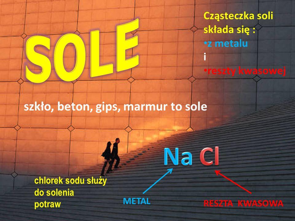 Tlenek metalu + Tlenek kwasowy  SÓL H H H I I I 0 0 0 \ I / P II 0 3 cząsteczki tlenku cynku + 1 cząsteczka tlenku fosforu V ↓ 1 cząsteczka fosforanu V cynku