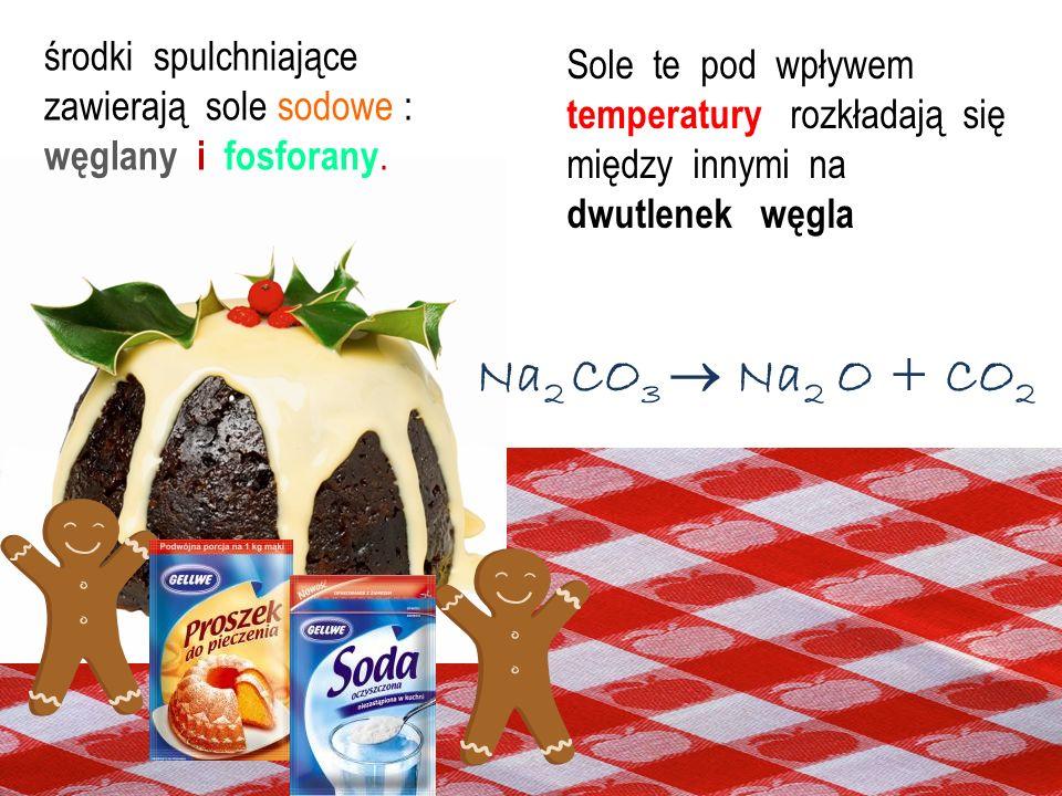 Aby ciasto było puszyste potrzebny jest proszek do pieczenia lub soda. NaHCO 3 (kwaśny węglan sodu) lub Na 2 CO 3 (węglan sodu) Aby ciasto było puszys