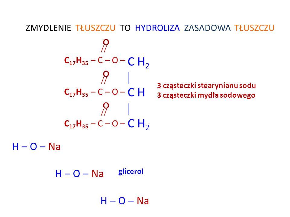 O // C 17 H 35 – C – O – Na Część hydrofilowa mydła wciąga całą cząsteczkę wraz z brudem do wody