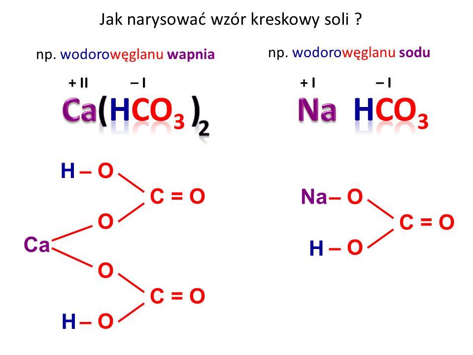 Jak narysować wzór kreskowy soli .+ II – I np. wodorowęglanu sodu + I – I np.