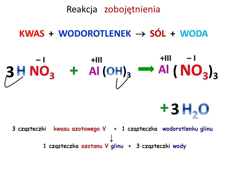 Reakcja zobojętnienia KWAS + WODOROTLENEK  SÓL + WODA 2 cząsteczki kwasu fosforowego V + 3 cząsteczki wodorotlenku magnezu ↓ 1 cząsteczka fosforanu V