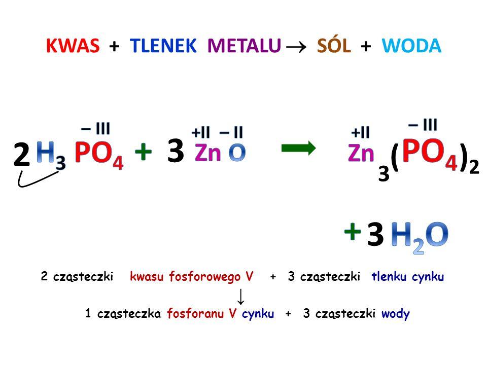 Reakcja zobojętnienia KWAS + WODOROTLENEK  SÓL + WODA 1 cząsteczka kwasu siarkowego VI + 2 cząsteczki wodorotlenku potasu ↓ 1 cząsteczka siarczanu VI