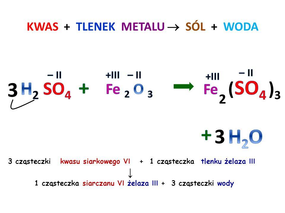 KWAS + TLENEK METALU  SÓL + WODA 2 cząsteczki kwasu fosforowego V + 3 cząsteczki tlenku cynku ↓ 1 cząsteczka fosforanu V cynku + 3 cząsteczki wody