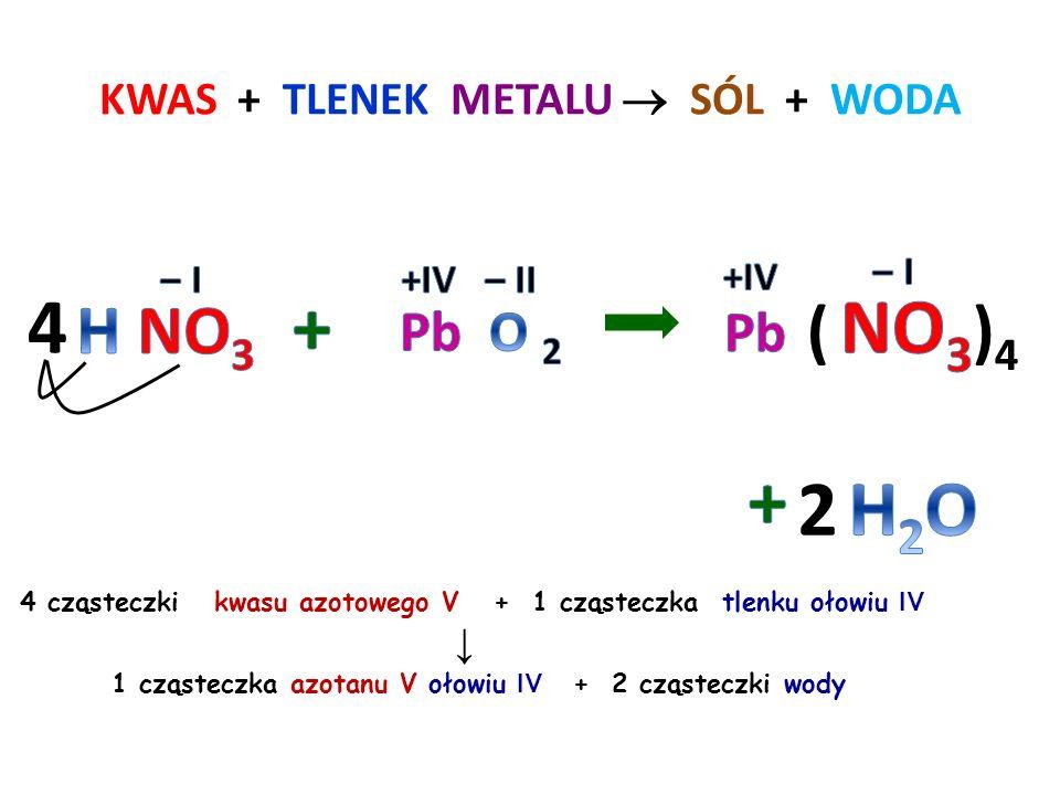 KWAS + TLENEK METALU  SÓL + WODA 3 cząsteczki kwasu siarkowego VI + 1 cząsteczka tlenku żelaza III ↓ 1 cząsteczka siarczanu VI żelaza III + 3 cząstec