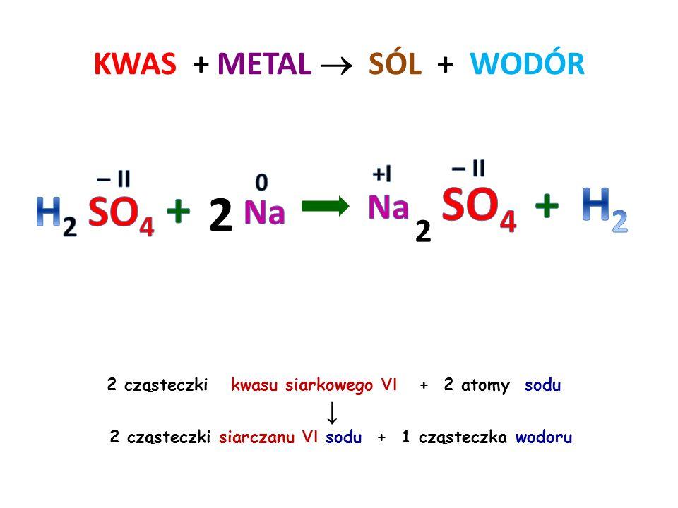KWAS + METAL  SÓL + WODÓR 6 2 cząsteczki kwasu fosforowego V + 2 atomy glinu ↓ 2 cząsteczki fosforanu V glinu + 3 cząsteczki wodoru