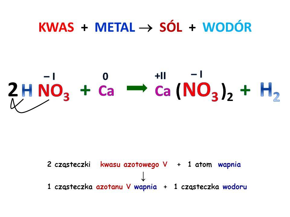 KWAS + METAL  SÓL + WODÓR 2 cząsteczki kwasu siarkowego VI + 2 atomy sodu ↓ 2 cząsteczki siarczanu VI sodu + 1 cząsteczka wodoru