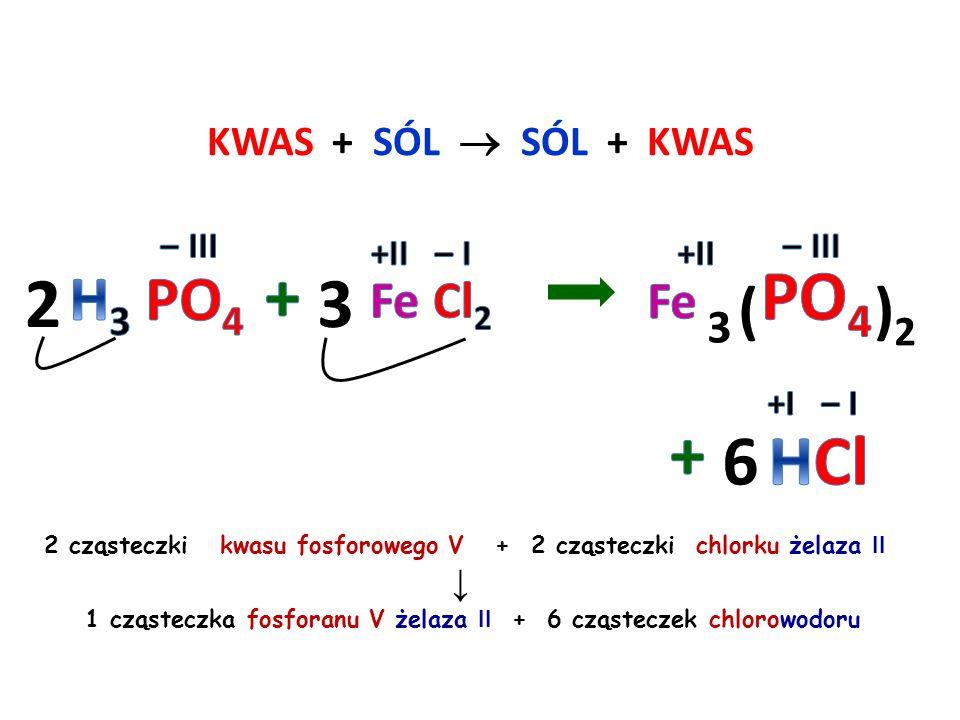 KWAS + METAL  SÓL + WODÓR 2 cząsteczki kwasu azotowego V + 1 atom wapnia ↓ 1 cząsteczka azotanu V wapnia + 1 cząsteczka wodoru