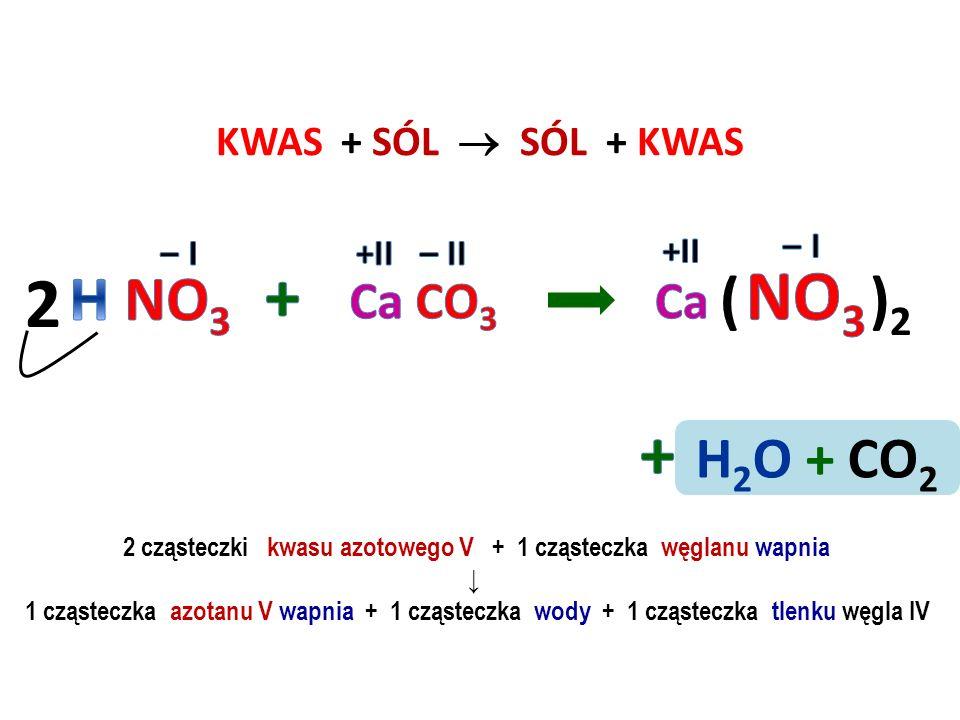 KWAS + SÓL  SÓL + KWAS 2 cząsteczki kwasu fosforowego V + 2 cząsteczki chlorku żelaza II ↓ 1 cząsteczka fosforanu V żelaza II + 6 cząsteczek chlorowo