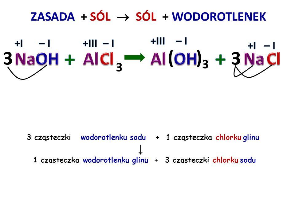 ZASADA + SÓL  + WODOROTLENEK 2 cząsteczki wodorotlenku potasu + 1 cząsteczka siarczanu VI miedzi II ↓ 1 cząsteczka wodorotlenku miedzi II + 1 cząstec