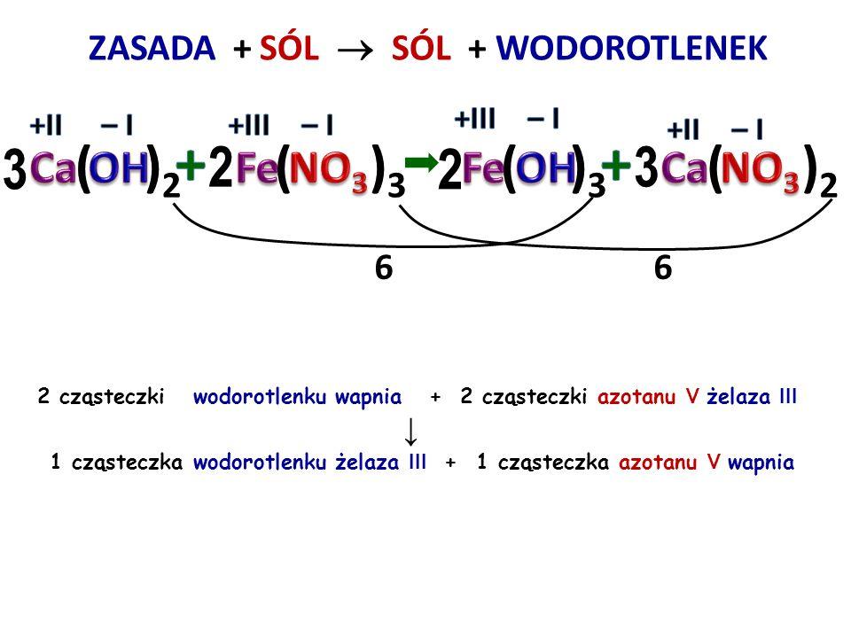 ZASADA + SÓL  + WODOROTLENEK 3 cząsteczki wodorotlenku sodu + 1 cząsteczka chlorku glinu ↓ 1 cząsteczka wodorotlenku glinu + 3 cząsteczki chlorku sod