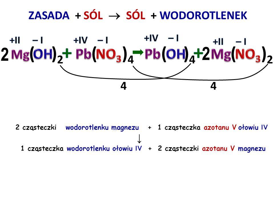 ZASADA + SÓL  + WODOROTLENEK 66 2 cząsteczki wodorotlenku wapnia + 2 cząsteczki azotanu V żelaza III ↓ 1 cząsteczka wodorotlenku żelaza III + 1 cząst