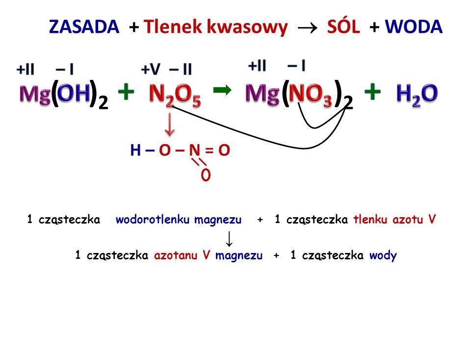 ZASADA + SÓL  + WODOROTLENEK 44 2 cząsteczki wodorotlenku magnezu + 1 cząsteczka azotanu V ołowiu IV ↓ 1 cząsteczka wodorotlenku ołowiu IV + 2 cząste