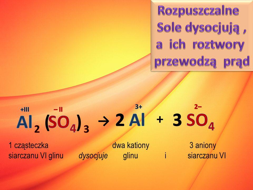 ( ) → + 1 cząsteczka dwa kationy 3 aniony siarczanu VI glinu dysocjuje glinu i siarczanu VI