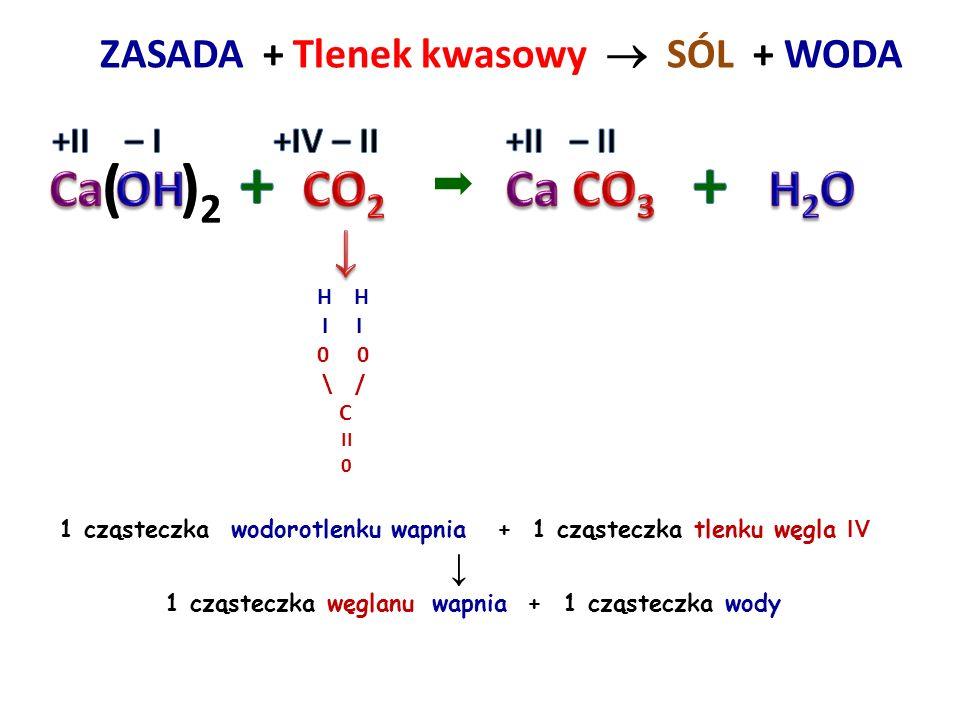 ZASADA + Tlenek kwasowy  SÓL + WODA H I I 0 \ / S // \\ 0 2 cząsteczki wodorotlenku sodu + 1 cząsteczka tlenku siarki VIVI ↓ 1 cząsteczka siarczanu V