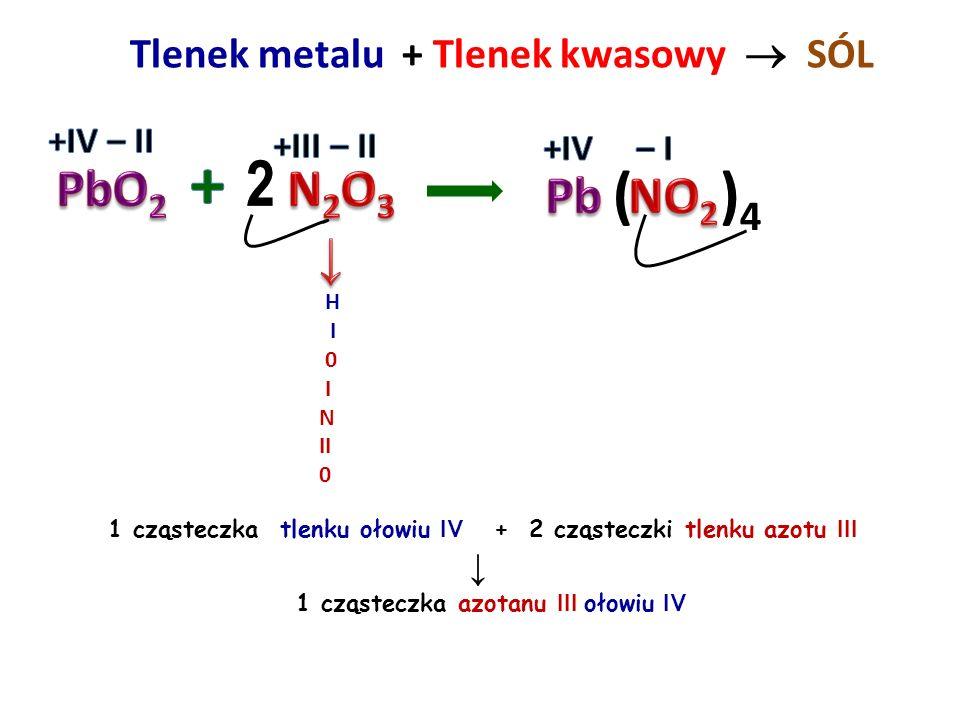 Tlenek metalu + Tlenek kwasowy  SÓL H H H I I I 0 0 0 \ I / P II 0 3 cząsteczki tlenku potasu + 1 cząsteczka tlenku fosforu V ↓ 2 cząsteczki fosforan